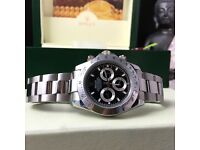 new boxed silver strap black face rolex daytona whatsapp to see all available