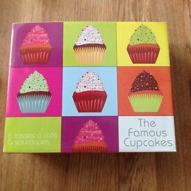 """Set of six """"famous cupcake"""" espresso cups. Mint condition."""