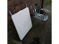 Garden chairs & folding table