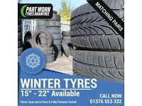 Part Worn Used Tyres in Pairs Good Condition Winter 185/60/15.55/205/65/50 215/65/16 275/45/20 etc.