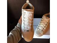 Balenciaga Arena High Top White Creased Calfskin Leather Men's Sneakers