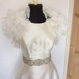 Size 16 Ivory Wedding bolero by Enzoani Blue. Lace and frills. Chiffon. Bridal accessories.