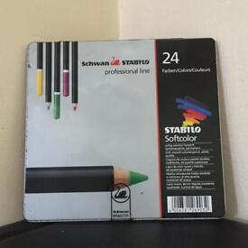 Schwan Stabilo professional line 24 softcolor pencils for arts crafts artists etc