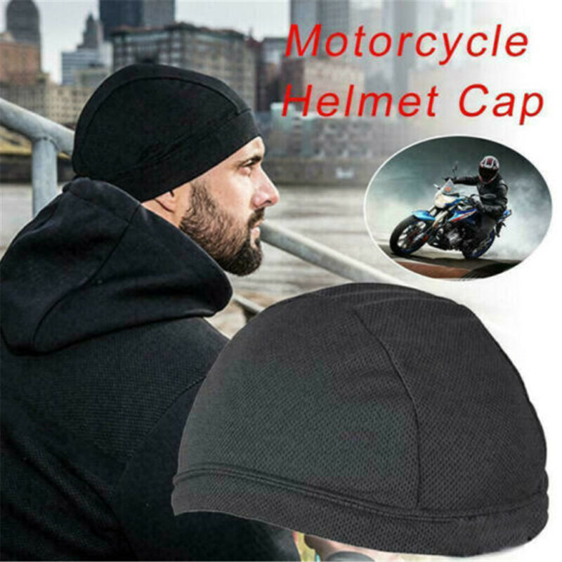 Black Moisture Wicking Cooling Cap Helmet Liner Beanie Bald Dome Hat Breathable
