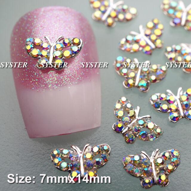 10 Pcs Alloy Jewelry 3D DIY Rhinestone Nail Art Glitters Slices SA074