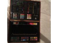 Artist craft set in wooden case.