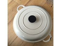 "Cast Iron Pan 13"" beige"