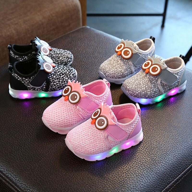 Infant Toddler Baby Girls Boys Cute Cartoon LED Luminous Spo