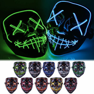 The Purge Halloween ( Halloween LED Glow Full Mask EL Wire Light Up The Purge Movie Rave Dance)