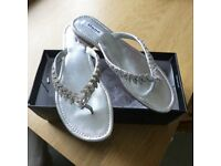 Dune Silver leather Diamante toe post sandal