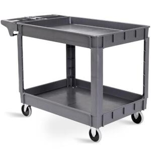 Plastic Utility Service Cart 550 LBS Capacity 2 Shelves Rolling 46 x 25 x 33 - BRAND NEW - FREE SHIPPING