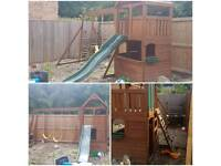 Wooden climbing frame, slide & swings