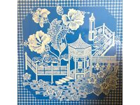 Cornflower blue contemporary painting 42 inches square. Chinese pagoda design. On wood, framed.