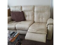 Free cream 3 seater leather recliner