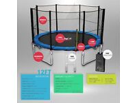 New 12ft Trampoline (We R Sports) With Safety Net Enclosure Ladder Rain Cover