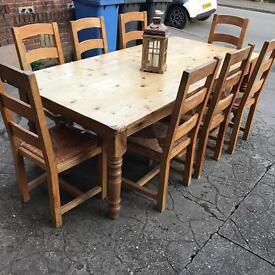 7. Ft farmhouse table 8 chairs