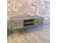 Rustic Industrial Weathered Wood Style Vintage Retro TV Cabinet with Hairpin Legs
