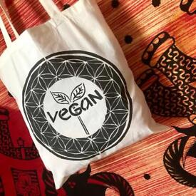 Vegan cotton bag, spiritual, plant based, handmade