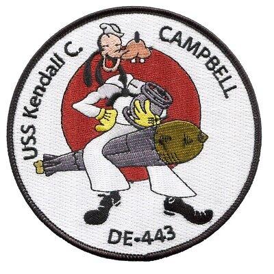 USS Kendall C Campbell DE-443 Butler-Class Destroyer Escort Military Patch Goofy