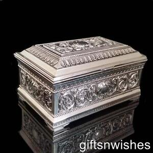 STUNNING Embossed Antique/Vintage Style Silver Plated Jewellery Box