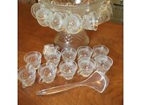 Vintage Wexford Glass Punch Bowl