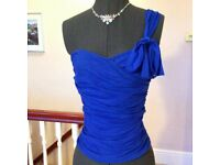 Vintage Topshop Blue One Shoulder Corset Bodice Strapless Xmas Party Top 10