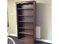 Large solid oak bookcase