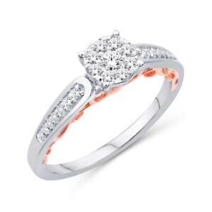 10kt Rose & White Gold Ladies Diamond Ring 0.25ct