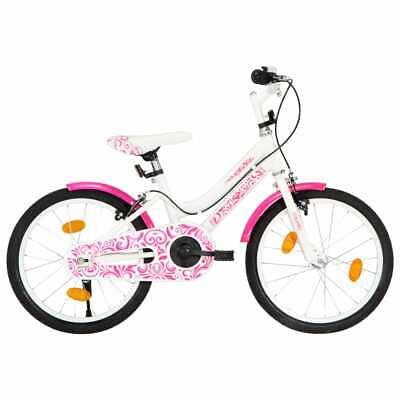 vidaXL Bicicleta para Niños 18 Pulgadas Rosa y Blanco Juegos Bici Infantil