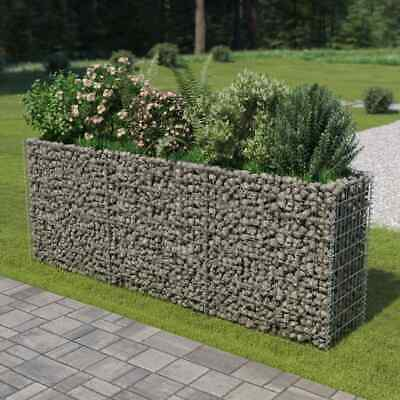 vidaXL Gabion Raised Bed Galvanised Steel 270x50x100cm Garden Stone Basket Box