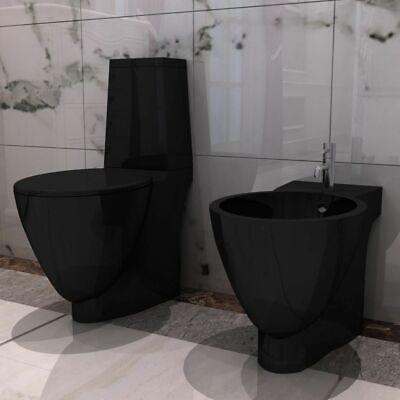 vidaXL Set de Inodoro y Bidé Suelo Pie Cerámica Negro WC Váter...