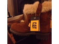 Ladies New fur lined leather CAT Boots size 4