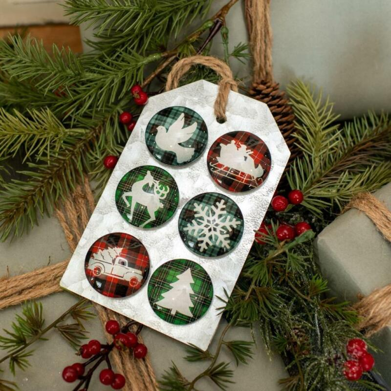 Christmas Icons on Buffalo Check Magnet Farmhouse Set of 6 on Tin Tag