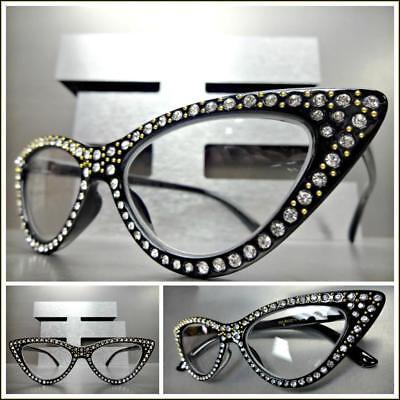 Women Classy Elegant Retro CAT EYE READING EYE GLASSES READERS Bling Black (Classy Reading Glasses)