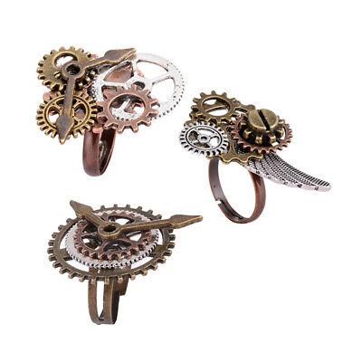 3pcs Steampunk Fingerring Set Gears Zahnräder Kostüm Bronze Band Schmuck
