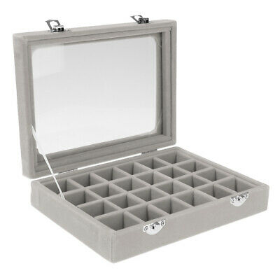 Jewelry Necklace Ring Earring Storage Display Box Organizer For Travel Grey