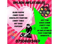 DJ hire Disco dome hot tub popcorn candy floss candy table party pod slush machine bouncy castle