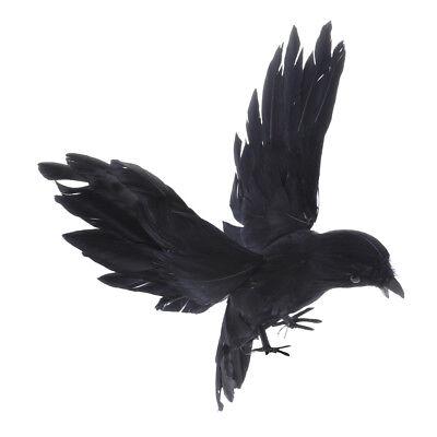 Künstliche fliegende Crow Black Bird Garten Dekor Halloween Dekoration ()