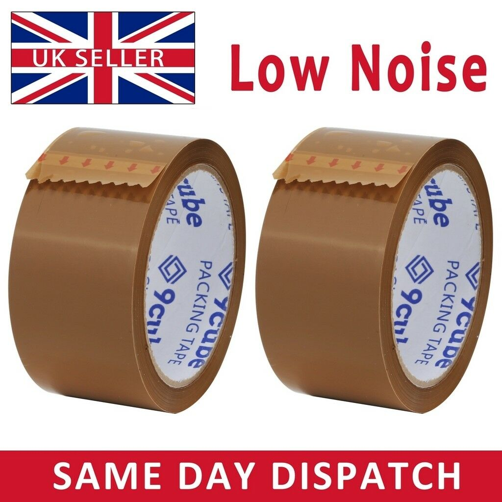 12 Rolls Of LOW NOISE BROWN Buff Parcel Tape 48mm x 66M