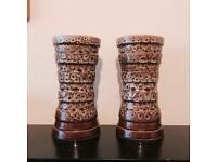 New Devon England, Honeycomb Column Vase Set Of 2