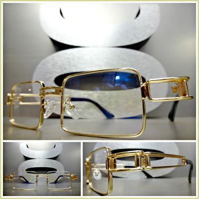 Men's CONTEMPORARY MODERN Clear Lens EYE GLASSES Gold Rectangular Fashion Frame