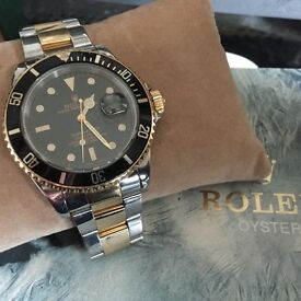 vintage .rolex bi metal black and gold watch 80.s....16613...r92