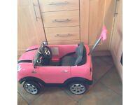 Mini Cooper s £35.00 and mini mouse ride on £30.00 babys bean bag chair £15.00 . Babys door swing 10