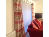 Red and cream curtains 90""
