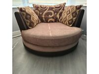 Dfs sofa with lounger and swivel chair