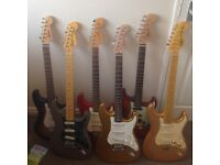 various stratocaster strat electric guitar squier squire fender sunn mustang
