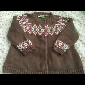 Lovely John Lewis baby girls cardigan jumper 6-9 months