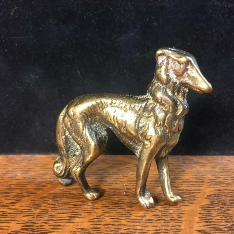 "Vintage 2 1/4"" Cast Brass BORZOI Miniature Figurine Statue Dog Russian Wolfhound"