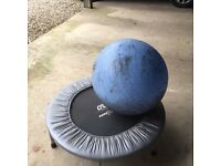 Mini trampoline and fitness ball