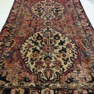 Vintage Bakthari Persian Rug, Handmade Carpet, Wool, Burgundy, Beige, Yellow, Brown and Blue Size: 9.8 X 6.5 ft